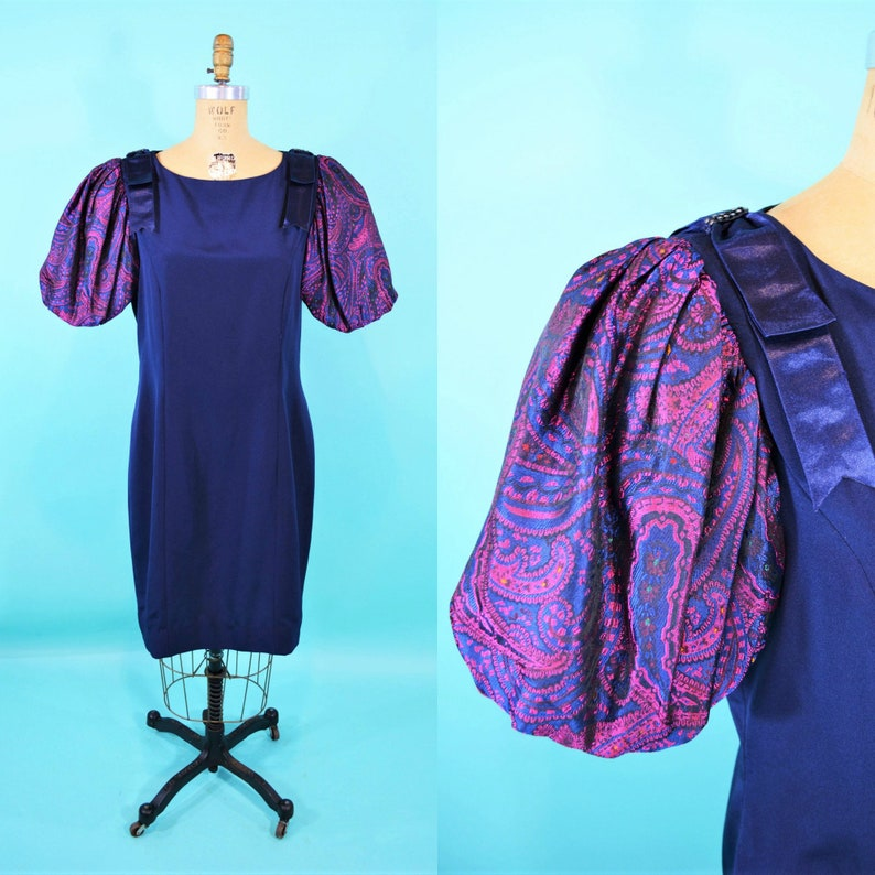 Vintage 1980s Cocktail Dress  Puffy Sleeve Fitted Dress  W image 0