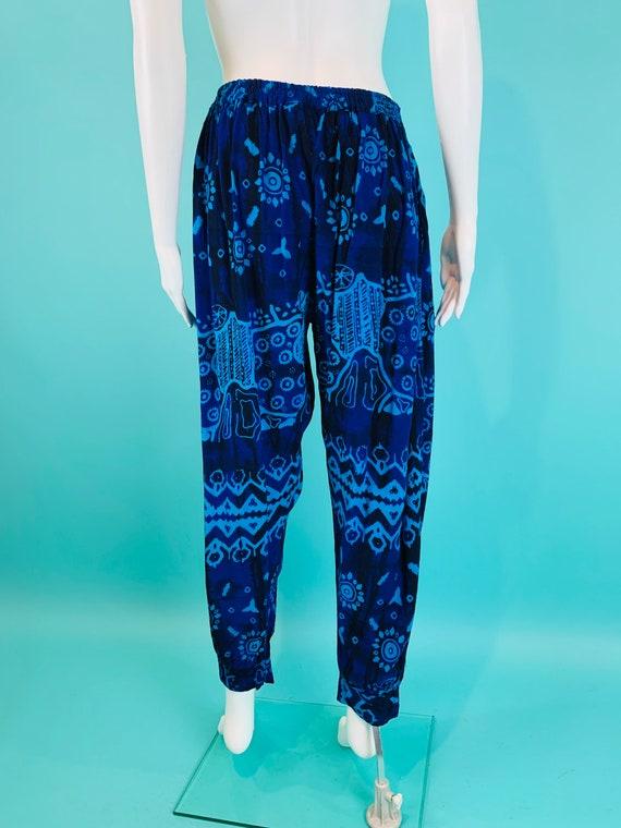 Vintage 1990s Harem Pants | Black Blue Printed Ta… - image 10
