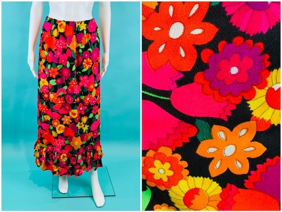 Vintage 1970s Neon Skirt | Handmade Tulip Print T… - image 1