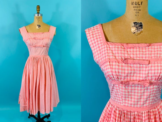 Vintage 1950s Pink Dress | Checkered Gigi Young Co