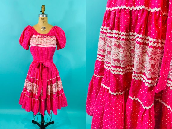 Vintage 1960s Polka Dot Dress | Hot Pink Square Da