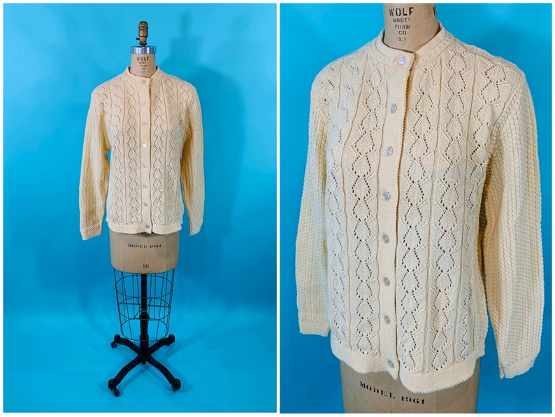 Vintage 1990s Cardigan  Haband Cream Knit Sweater  B image 0