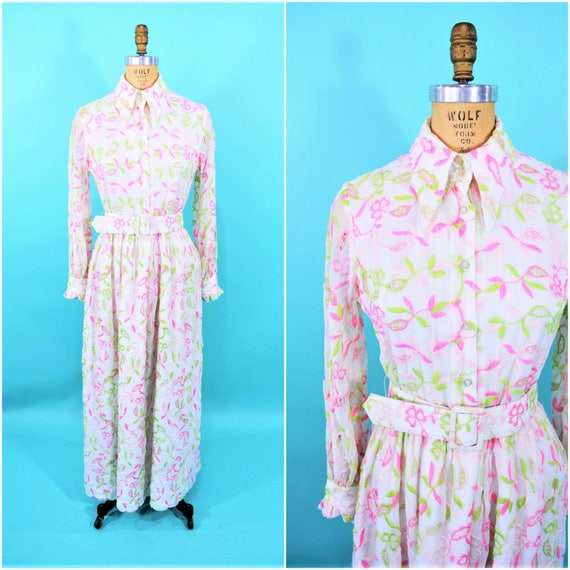 Vintage 1970s Maxi | Embroidered Pink Lime Green B
