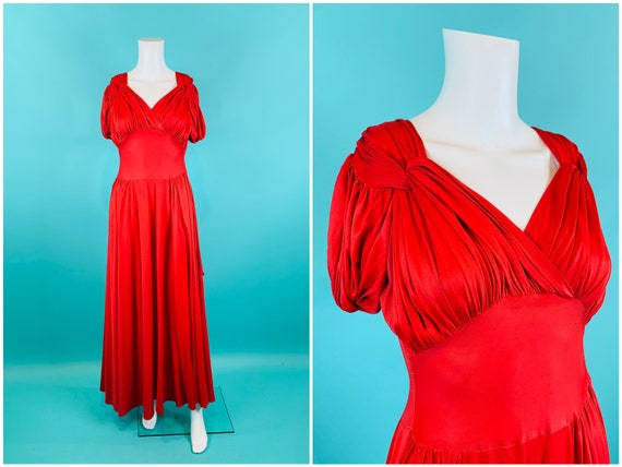 Size XS 1940/'s Coral Lace Dress Somewhat As-Is Vintage 40/'s Orange Pink Lace Gown with Ruffles Belt