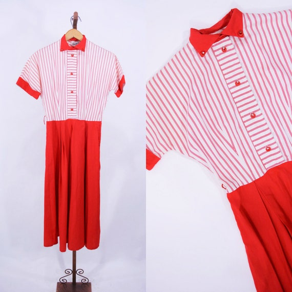 Vintage 1950s Striped Dress | Teena Paige Red Shir