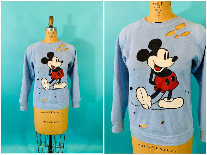 Vintage 1980s Mickey Mouse Top  Distressed Blue Disney Raglan image 0