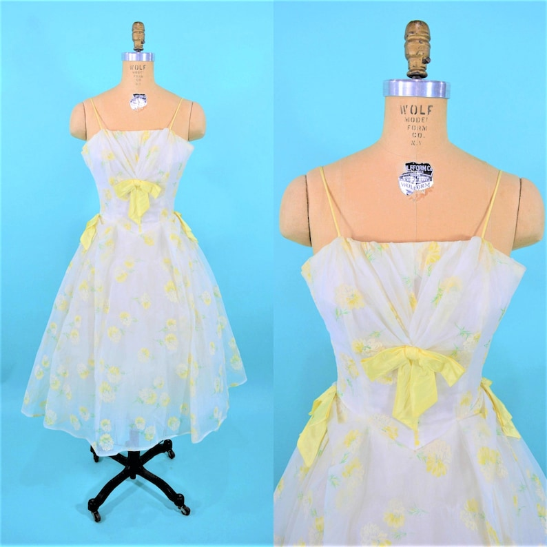 Vintage 1950s Cupcake Dress  Yellow White Floral Prom Gown  image 0