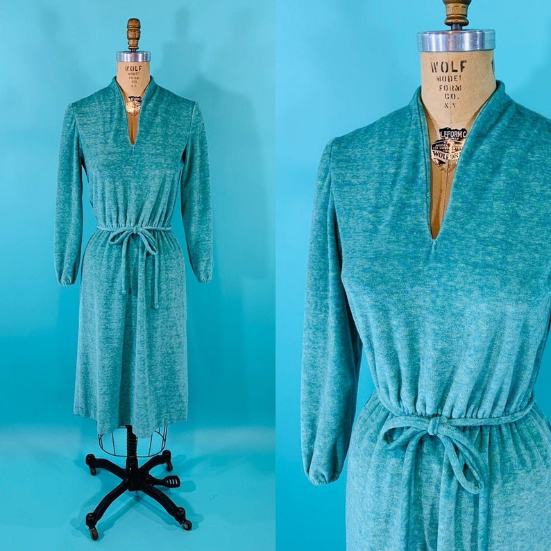 Vintage 1970s Velour Dress  Turquoise V Neck Dress  W image 0