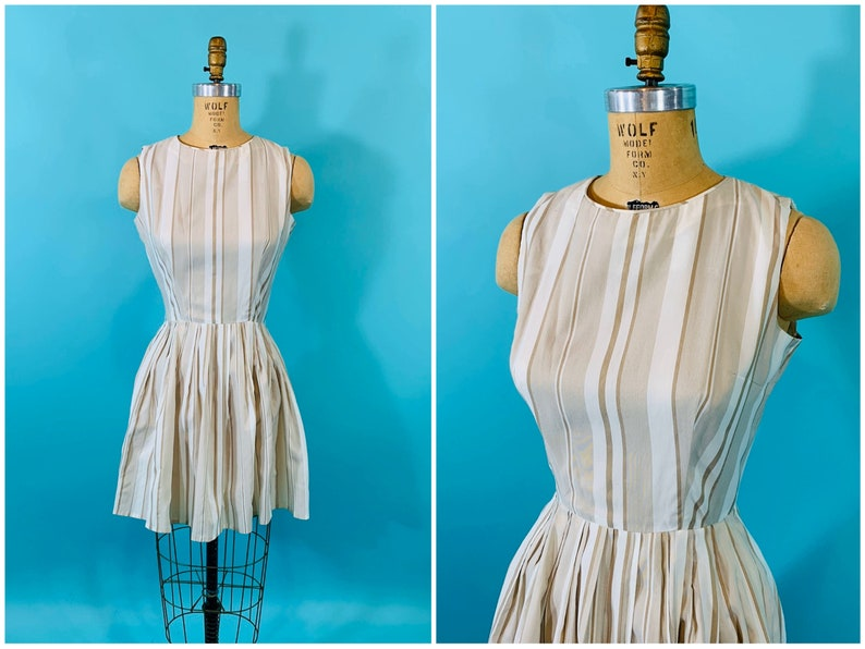 Vintage 1960s Striped Dress  Tan Stripe Sheer Mini Dress  W image 0