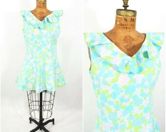 """Vintage 1960s Mini Dress   Aqua Ruffle Floral Dress   W 33"""""""