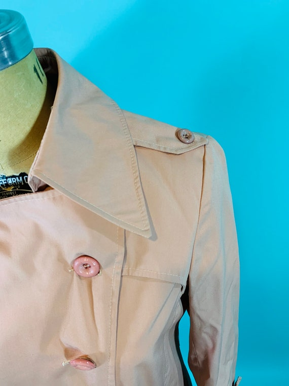 Vintage 1980s Peach Trench | Light Peach Pink Tre… - image 10