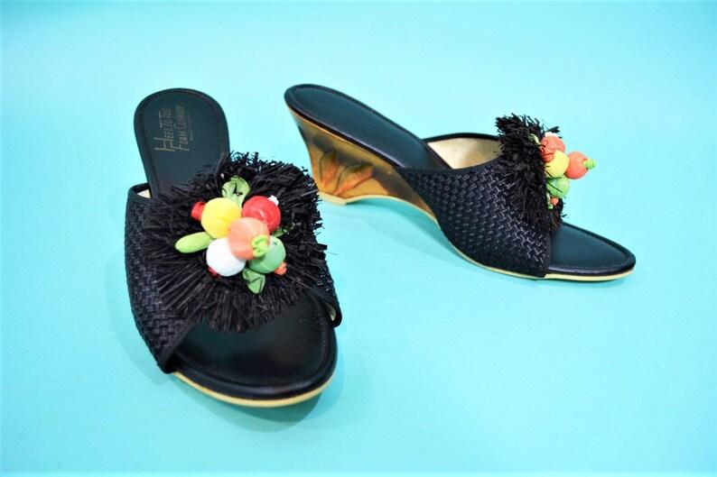 Vintage 1950s Black Sandals  Carved Wooden Tiki Raffia Heels image 0