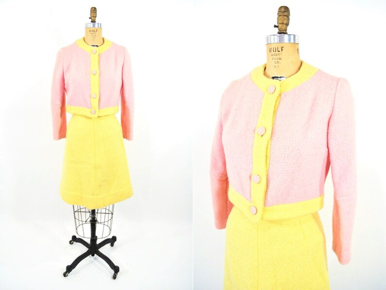 1960s mod suit pink yellow wool jacket skirt blouse vintage set W 25