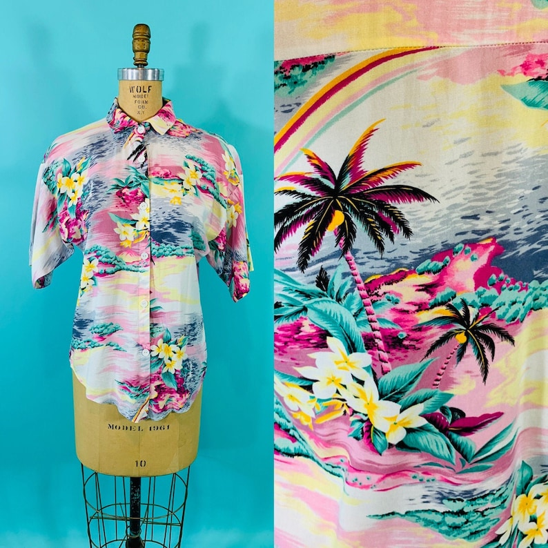 Vintage 1980s Hawaiian Top  Pink Palm Tree Hibiscus Blouse  image 0