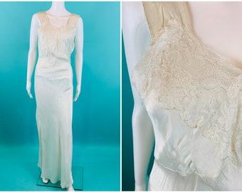 """Vintage 1940s Lace Slip   AS IS White Full Length Lingerie   B 38"""""""