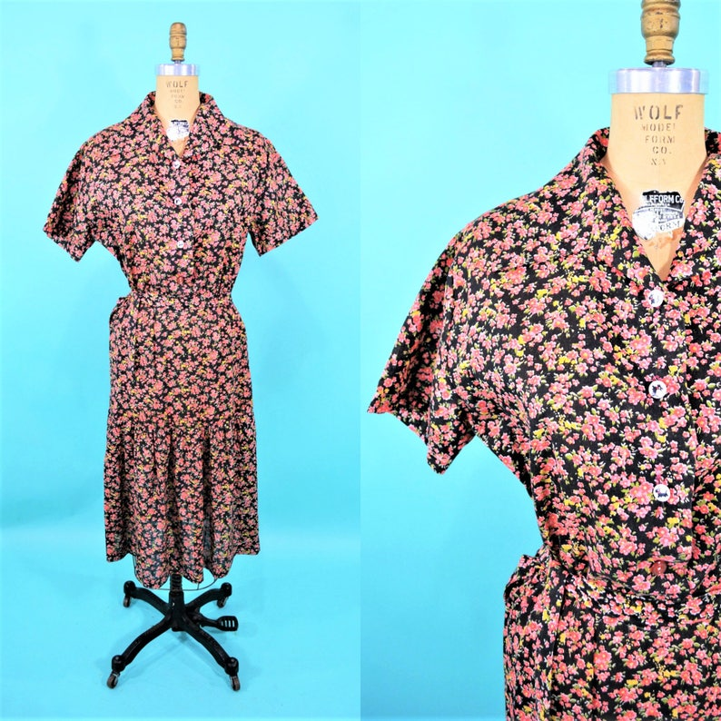 Vintage 1970s Floral Dress  Pink 50s Style Shirtdress  W image 0