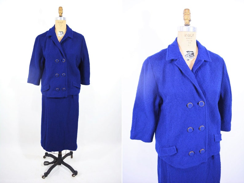 Vintage 60s Suit Set  Royal Blue Textured Jacket Skirt Suit image 0