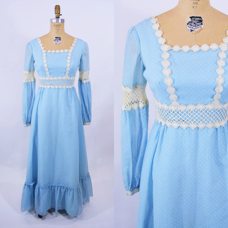Vintage 1970s Dress  Bohemian Dotted Swiss Blue Maxi  W image 0