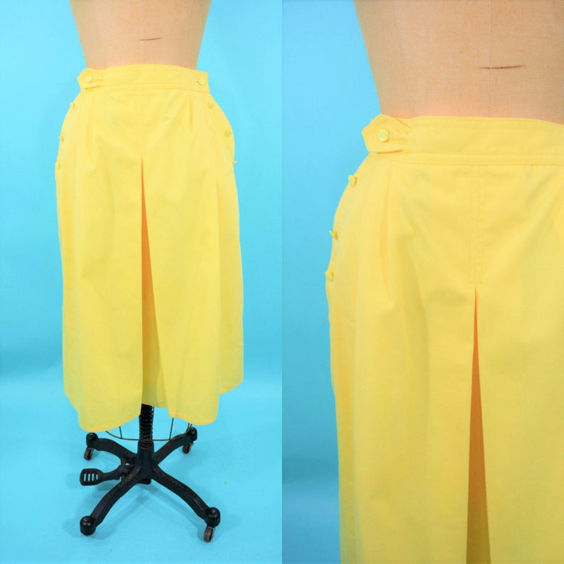 Vintage 1970s Yellow Skirt  Solid Pleat Front Skirt  W image 0