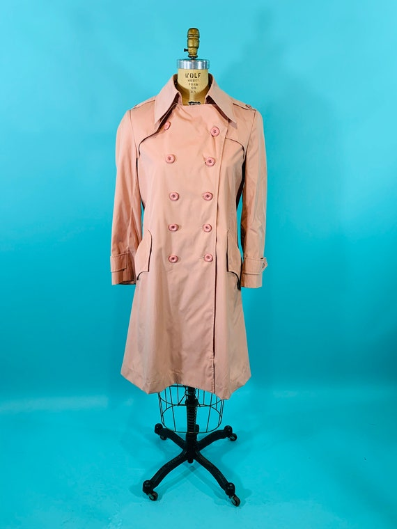 Vintage 1980s Peach Trench | Light Peach Pink Tre… - image 2
