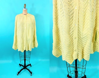 Vintage 1960s Crochet Cape   Yellow Chevron Knit Button Down Sweater Cape