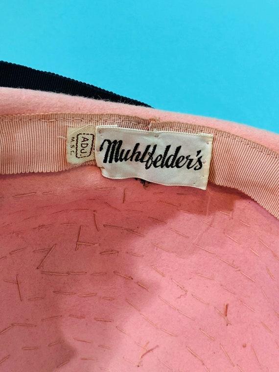 Vintage 1950s Pink Hat | Floral Rhinestone Mohlfe… - image 8