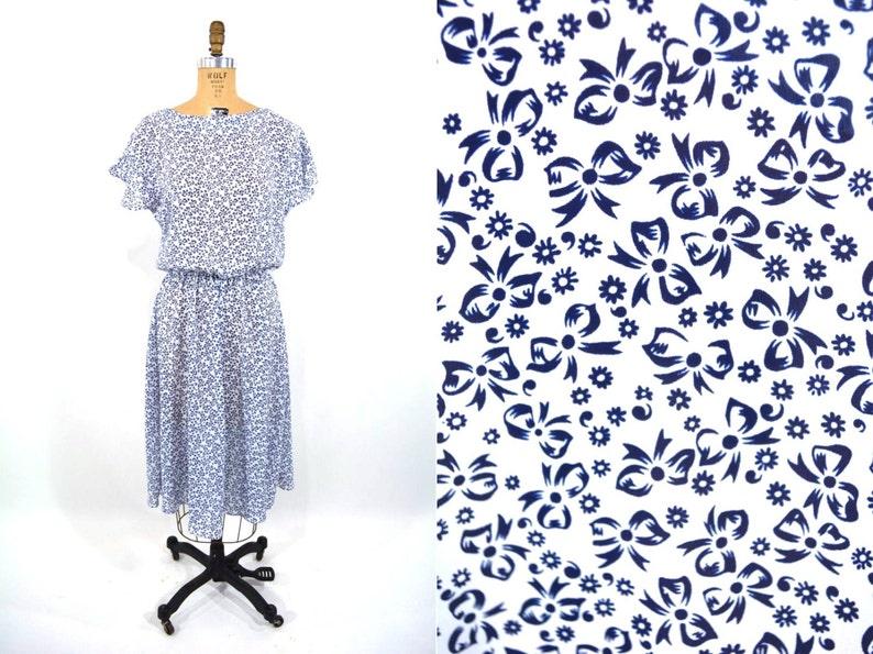 Vintage 1980s Novelty Dress  Navy Blue Bow Print Dress  W image 0