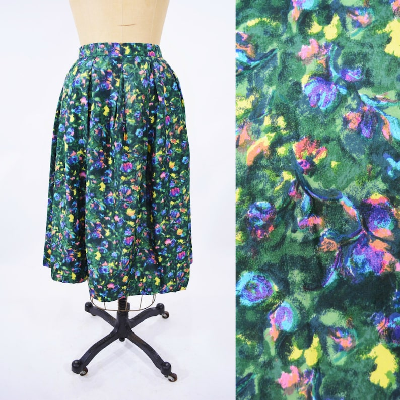 Vintage 1950s Satin Skirt  Green Watercolor Floral Skirt  W image 0