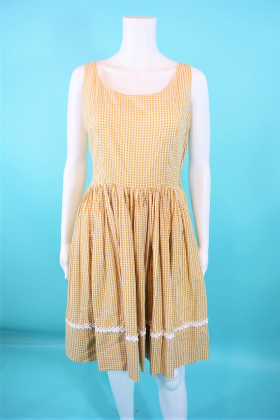 real quality buy popular how to purchase Vintage 1950s Sundress | Tan Checkered Cotton Picnic Dress | W 28