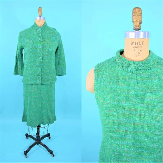 Vintage 1960s Sweater Dress   Green Gradient Wool