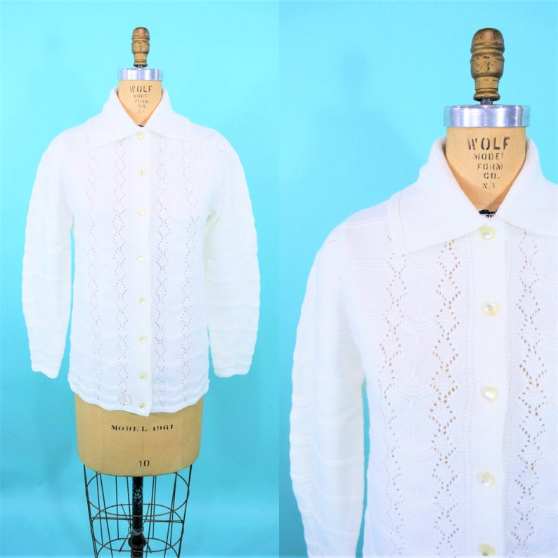 Vintage 1960s Cardigan  White DEADSTOCK Acrylic Knit Sweater image 0