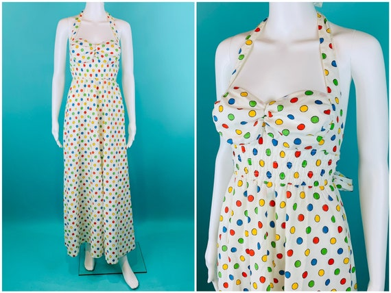 Vintage 1970s Halter Dress | Rainbow Polka Dot Hal