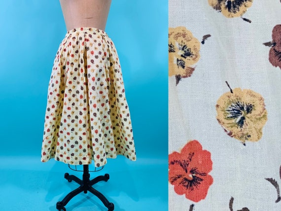 Vintage 1950s Pansy Skirt | Yellow Floral Print Sk