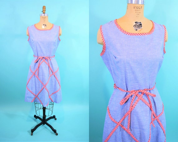 Vintage 1960s Picnic Dress | Blue Chambray Red Che