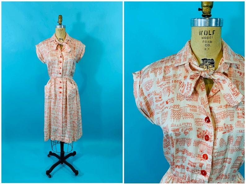 Vintage 1950s Silk Dress  Red White Scenic Novelty Print image 0