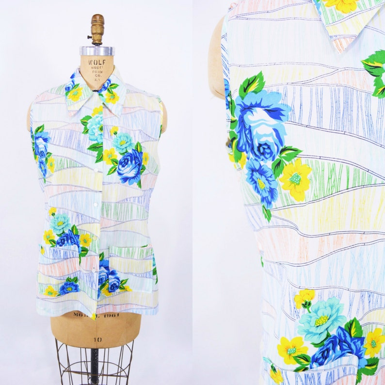 Vintage 1960s Floral Tank  Bamboo Print Sleeveless Top  W image 0