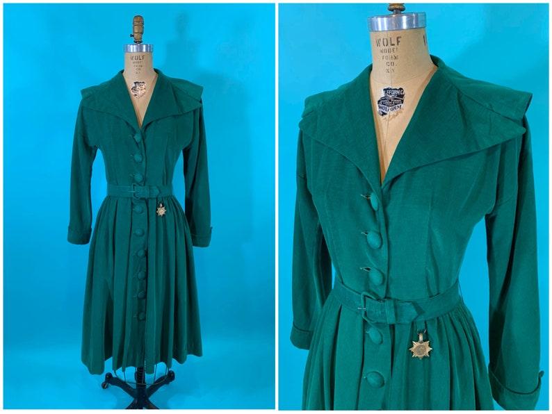 Vintage 1950s Corduroy Dress  Green Long Sleeve Holiday Dress image 0
