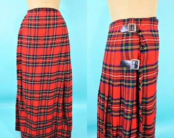 1960s plaid skirt | Scottish wool red plaid long pleated skirt | vintage 60s skirt | W 24""