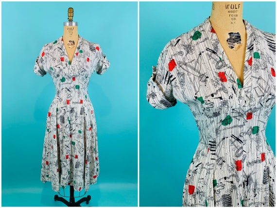 Vintage 1950s Abstract Dress | Green Red Novelty P