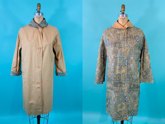 Vintage 1960s Reversible Trench   Paisley Print G… - image 1