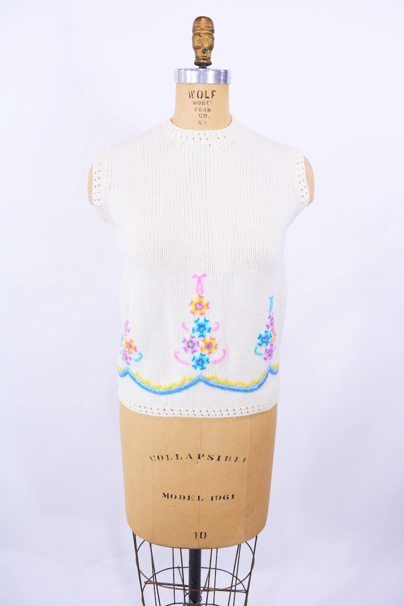 Vintage 1960s Wool Vest  Cream Pastel Embroidery Sweater  W image 0