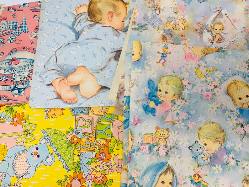 Vintage Wrapping Paper  Baby Gift Wrap Lot 5 image 0