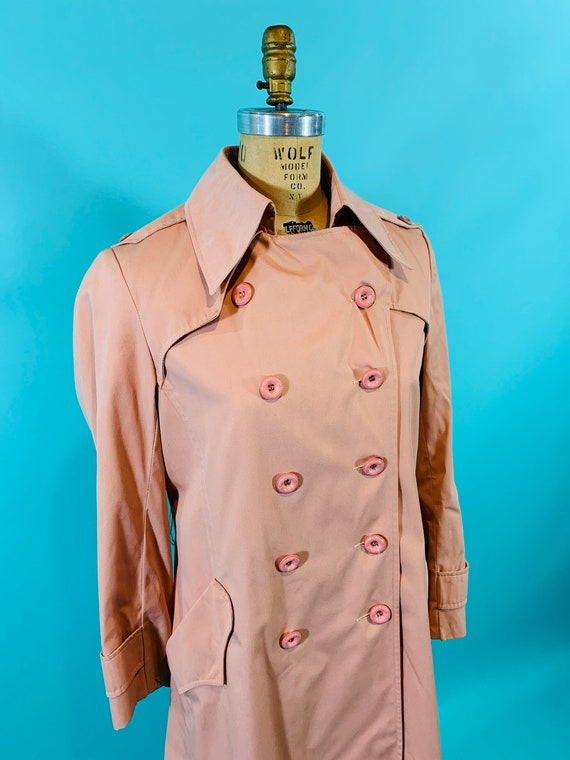 Vintage 1980s Peach Trench | Light Peach Pink Tre… - image 5