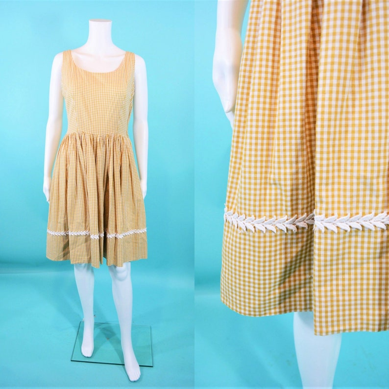 Vintage 1950s Sundress  Tan Checkered Cotton Picnic Dress  W image 0