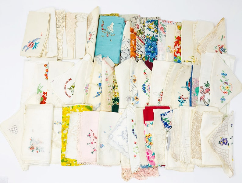 Vintage Handkerchief Mixed Lot  Floral Embroidered Souvenir image 0
