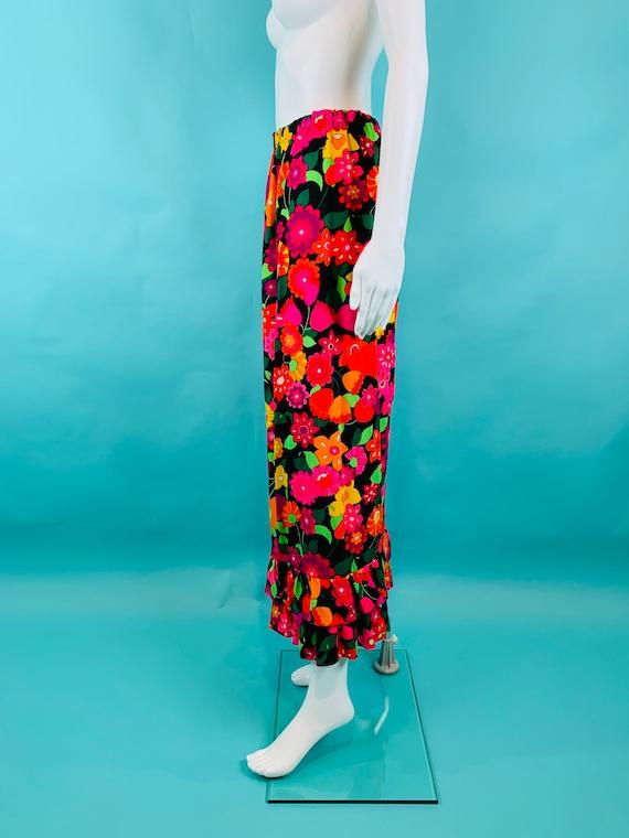 Vintage 1970s Neon Skirt | Handmade Tulip Print T… - image 7