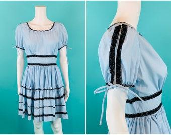 """Vintage 1960s Party Dress   Square Dance Ric Rac Dress   W 28"""""""