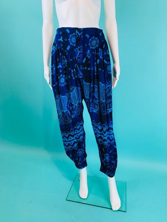 Vintage 1990s Harem Pants | Black Blue Printed Ta… - image 2