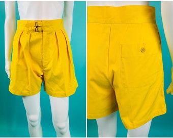 "Vintage 1980s Yellow Shorts   Banana High Waisted Pleated Shorts   W 25"""