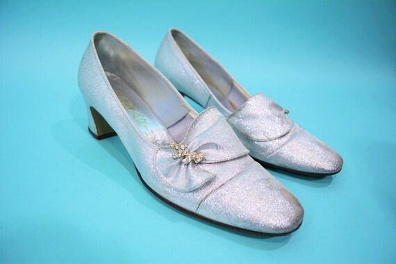 Vintage 1960s Heels | Silver Metallic Rhinestone M